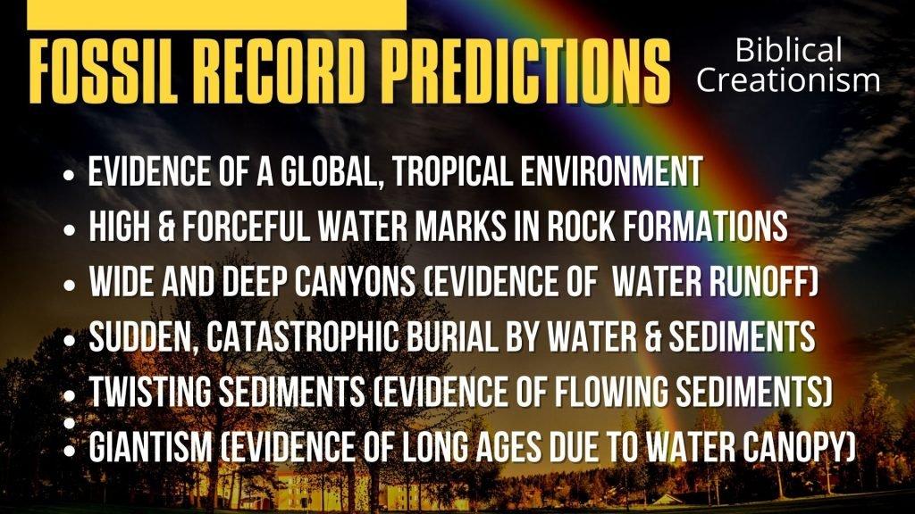 Fossil Record Predictions.Biblical Creationism